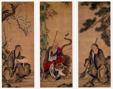 1280px-Fengkan_Hanshan_and_Shade_Ueno_Jakugen_Triptych_hanging_scrolls_coloe_on_silk-e1448717236498